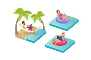 Freelance Workers on Beach Vector