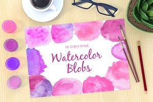 10 Girly Pink Watercolor Blobs