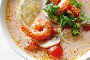 Thai soup tom yum with shrimps