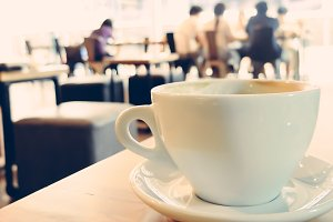 Cup of coffee in the cafe