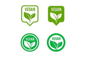 Vegan icon set. Bio, Ecology