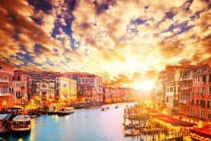 Venice at sunset. Romantic scenery
