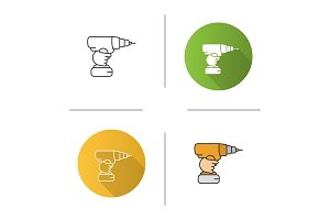 Hand holding cordless drill icon
