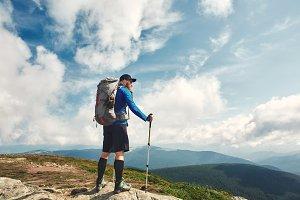 Active hiker enjoying the view