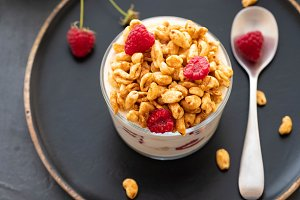 Bowl of granola with yogurt and