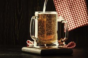 Two glasses of german light beer, be