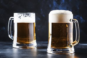 Glasses with czech light beer, dark