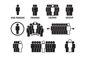 crowd team symbols. business people