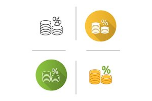Coin stack with percent icon