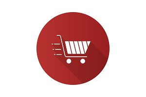 Flying shopping cart icon