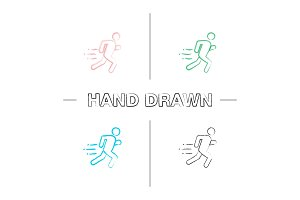 Running man hand drawn icons set