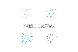 Lightning bolt hand drawn icons set