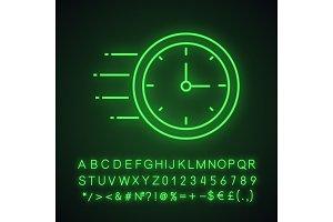 Flying clock neon light icon