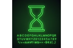 Hourglass neon light icon