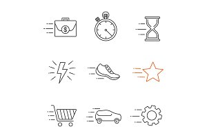 Motion linear icons set