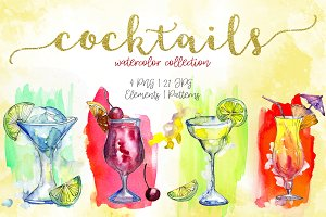 Cocktails watercolor collection PNG