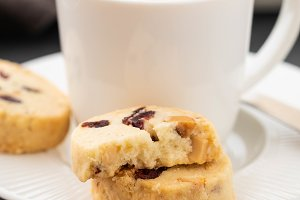 Closeup of cookies and a cup of