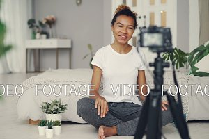 Female blogger is recording video