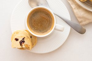 Coffee espresso in white cup with