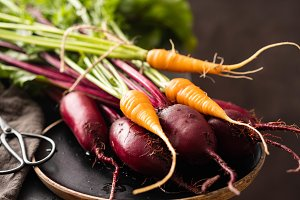 Fresh vegetables carrots, beetroots