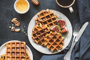 Belgian waffles with figs and honey