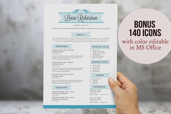 2 in 1 stylish banner word resume resume templates creative market