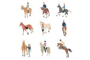 People on horseback. A rider on a