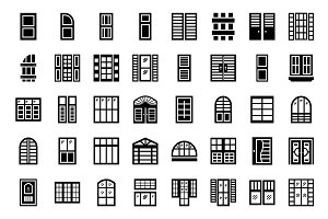 120 Plantation Shutters Vector Icons