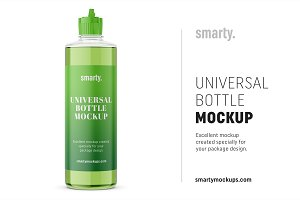 Transparent bottle mockup