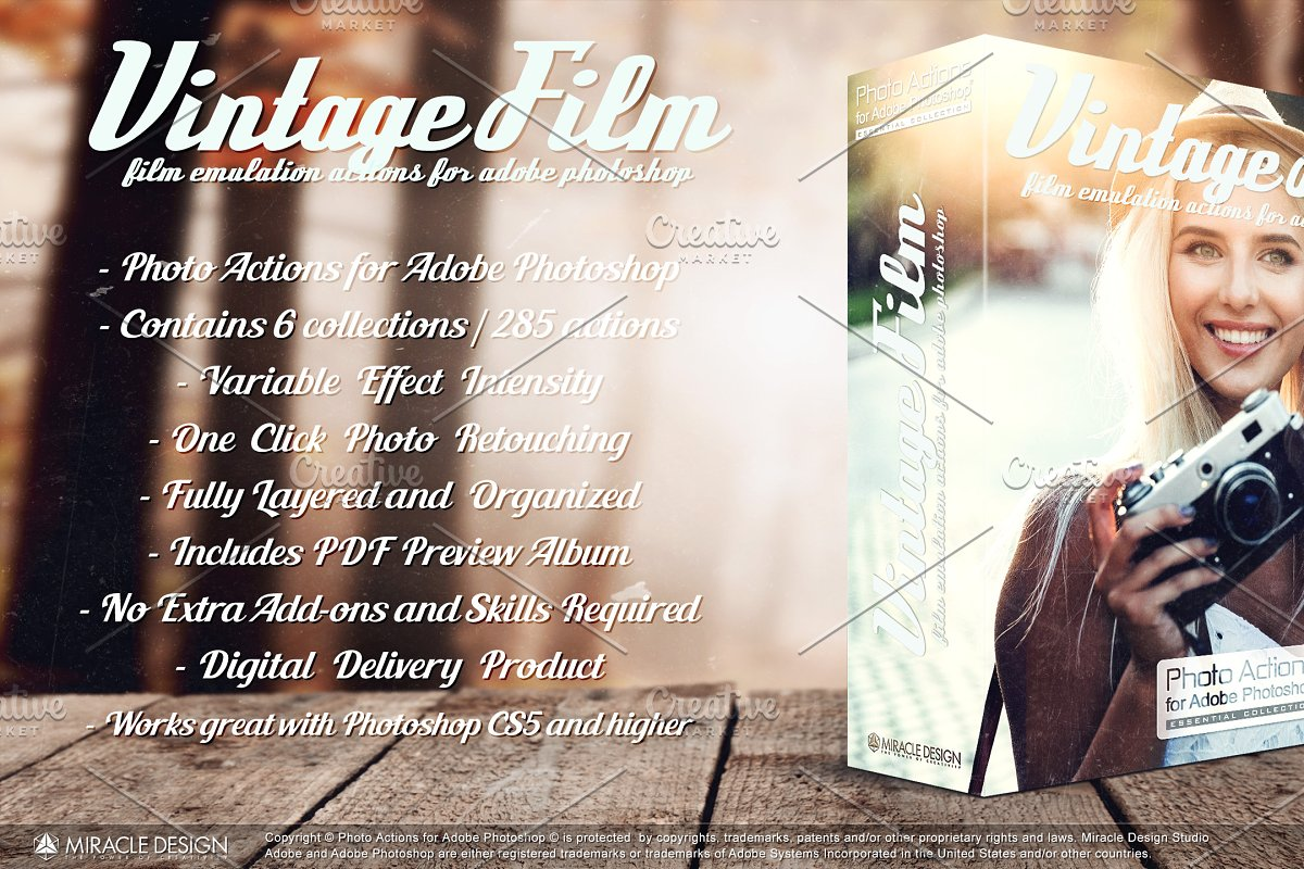 Actions for Photoshop / Vintage Film ~ Photoshop Add-Ons ~ Creative