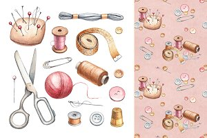 Hand drawn sewing tools