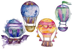 Watercolor blue hot air balloon PNG