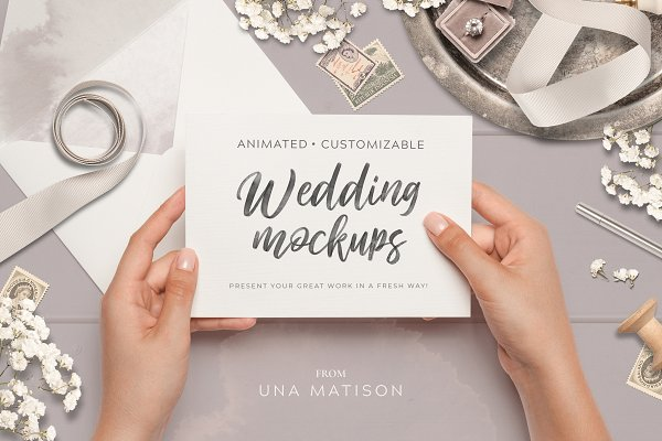 Product Mockups: Una Matison - Animated Custom Wedding mockups