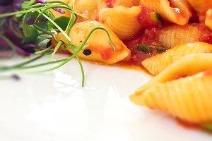 Italian pasta in tomato sauce