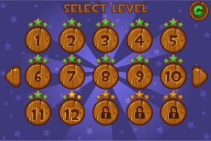 Cartoon Wooden Level selection