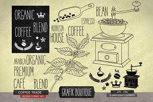 Coffee trade, vintage grinder, crown