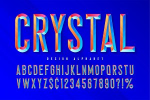 Crystal display font with facets