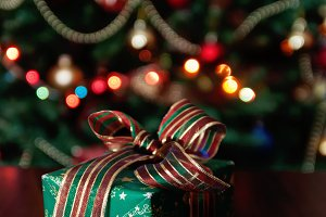 Gifts under the Christmas tree light