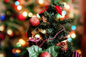 decorative Christmas tree with gifts