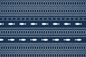 Blue and white dots and fish pattern