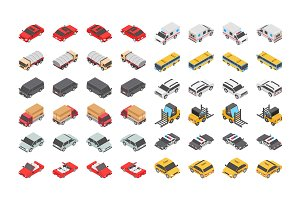 48 Transport Isometric Icons