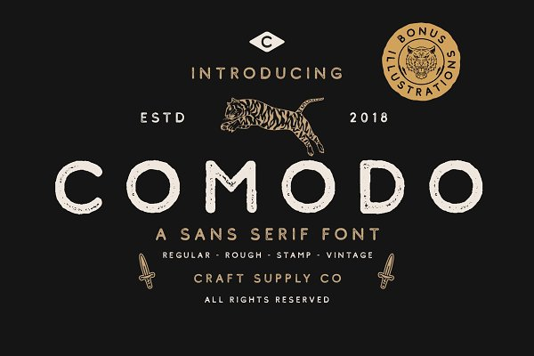 Sans Serif Fonts: Craft Supply Co. - Comodo Font Family + Illustrations