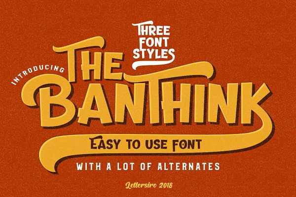 Display Fonts: Lettersiro - The Banthink - 3 Font Styles