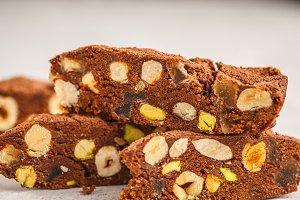 Italian dessert panforte with nuts,