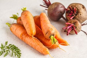 Raw carrots and beets