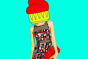 Contemporary art minimal collage.  C