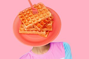 Waffle head.Contemporary art  collag