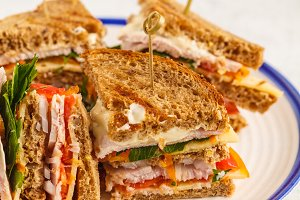 Ham and cheese club sandwiches