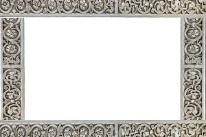 White Landscape Frame with Ornate Ca
