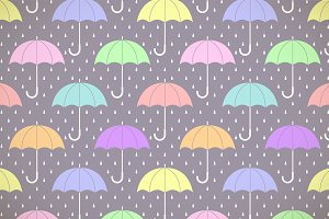 Pastel umbrellas in the rain pattern